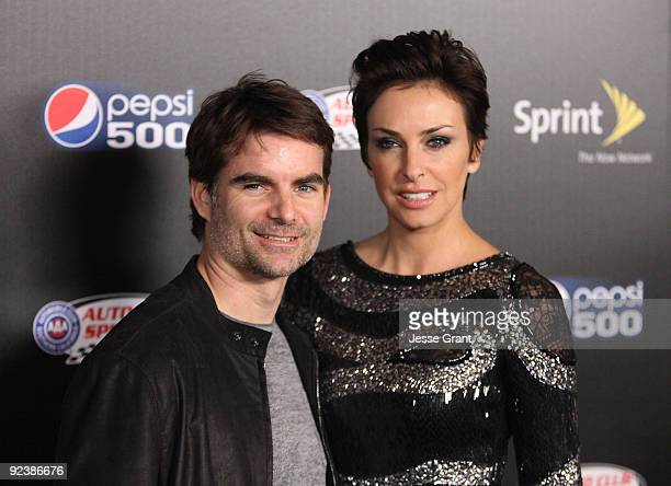 NASCAR driver Jeff Gordon and Ingrid Vandebosch arrive at the Auto Club Speedway's Pepsi 500 Celebration at The Roosevelt Hotel on October 7 2009 in...