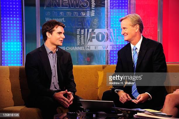 NASCAR driver Jeff Gordon and Steve Doocy talk on 'FOX Friends' at FOX Studios on August 11 2011 in New York City