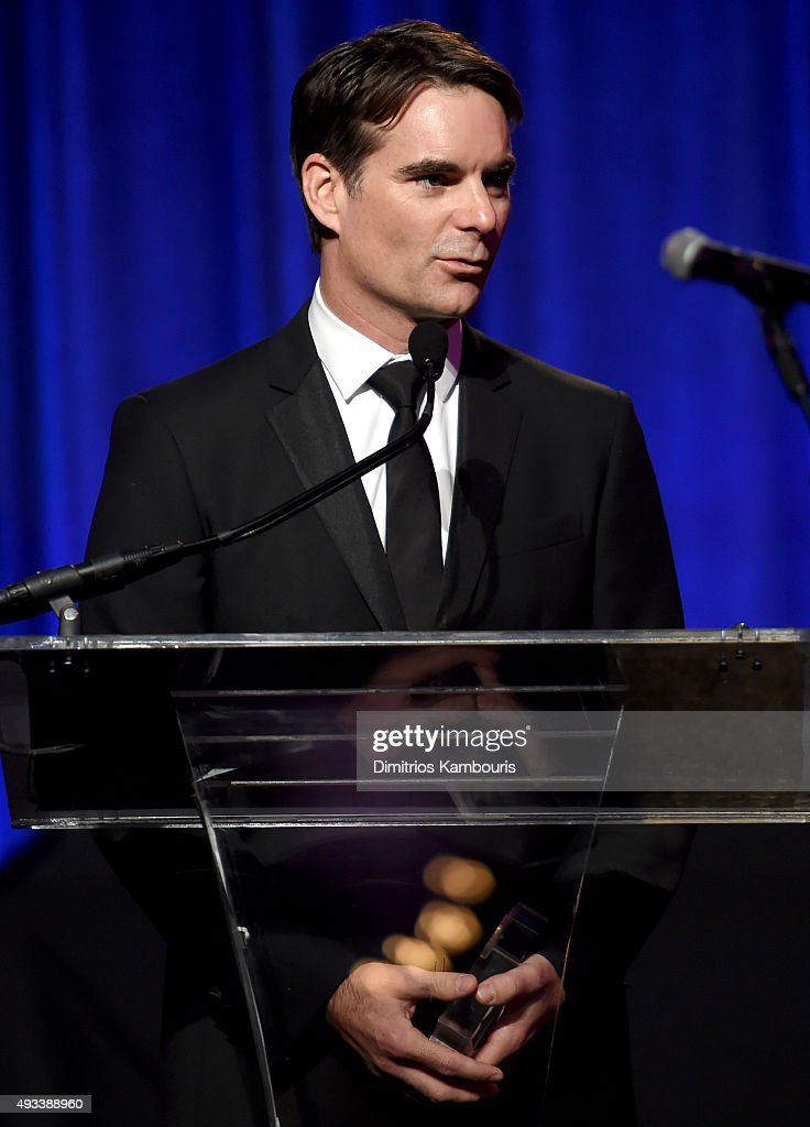 Driver Jeff Gordon speaks onstage duringAngel Ball 2015 hosted by Gabrielle's Angel Foundation at Cipriani Wall Street on October 19, 2015 in New York City.