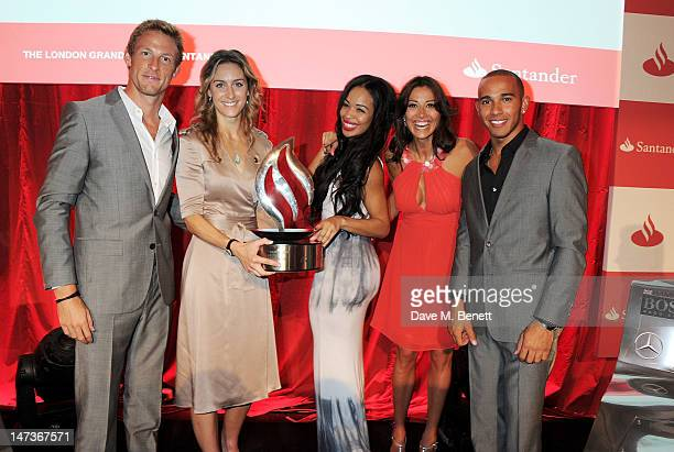 F1 driver Jenson Button Olympian Amy Williams radio presenter Sarah Jane Crawford TV presenter Melanie Sykes and F1 driver Lewis Hamilton attend the...