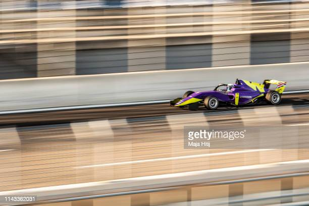 Driver Jessica Hawkins, UK, races during W Series testing at Lausitzring on April 16, 2019 in Hoyerswerda, Germany. W Series aims to give female...