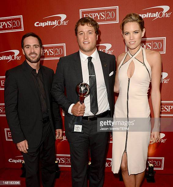 NASCAR driver Jimmie Johnson NFL player Matthew Stafford of the Detroit Lions and actress Cody Horn pose backstage during the 2012 ESPY Awards at...