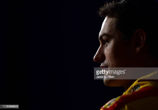 Driver Joey Logano speaks with the media during the Monster Energy NASCAR Cup Series 61st Annual Daytona 500 Media Day at Daytona International...