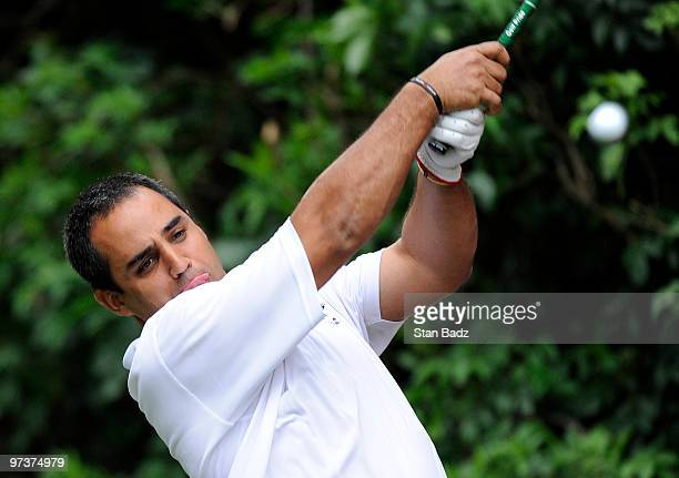 Driver Juan Pablo Montoya of Colombia hits a drive during the ProAm round at the Pacific Rubiales Bogota Open Presented by Samsung at Country Club de...