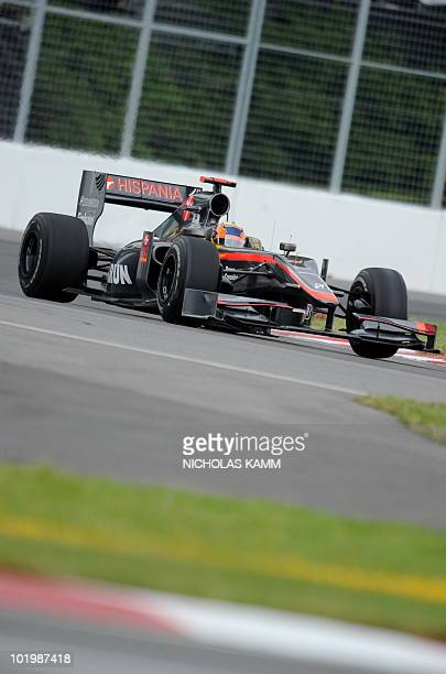 HRT driver Karun Chandhok of India steers his car during the first practice session of the Canadian Formula One Grand Prix in Montreal on June 11...