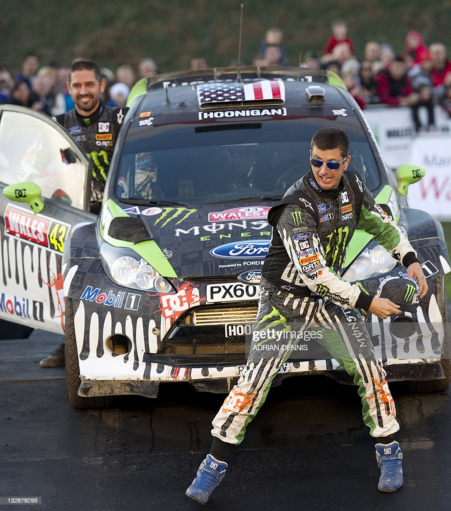 Driver Ken Block (R) throws his hat into Pictures | Getty Images