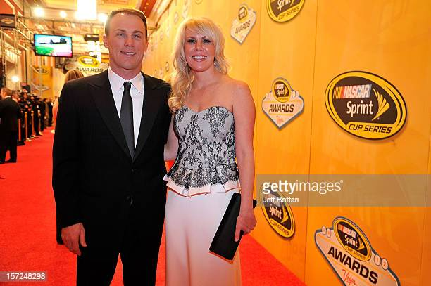 Driver Kevin Harvick and his wife DeLana arrive on the red carpet for the NASCAR Sprint Cup Series Champion's Awards at the Wynn Las Vegas on...
