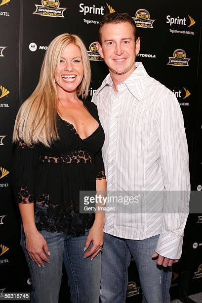 Driver Kurt Busch and fiancee Eva Bryan arrive at the 2005 NASCAR Nextel Cup Series Championship Party At Marquee Presented By Sprint on December 1...