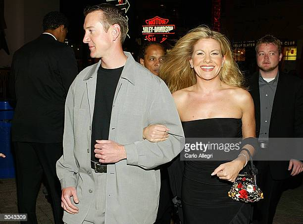 NASCAR driver Kurt Busch and guest Eva Bryan arrive for the premiere of Warner Brothers 'NASCAR 3D The Imax Experiance' at Universal Studios City...