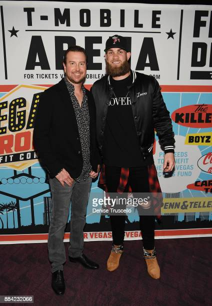 NASCAR driver Kurt Busch and Major League Baseball player Bryce Harper pose for a photo at the Vegas Strong Benefit Concert at TMobile Arena to...