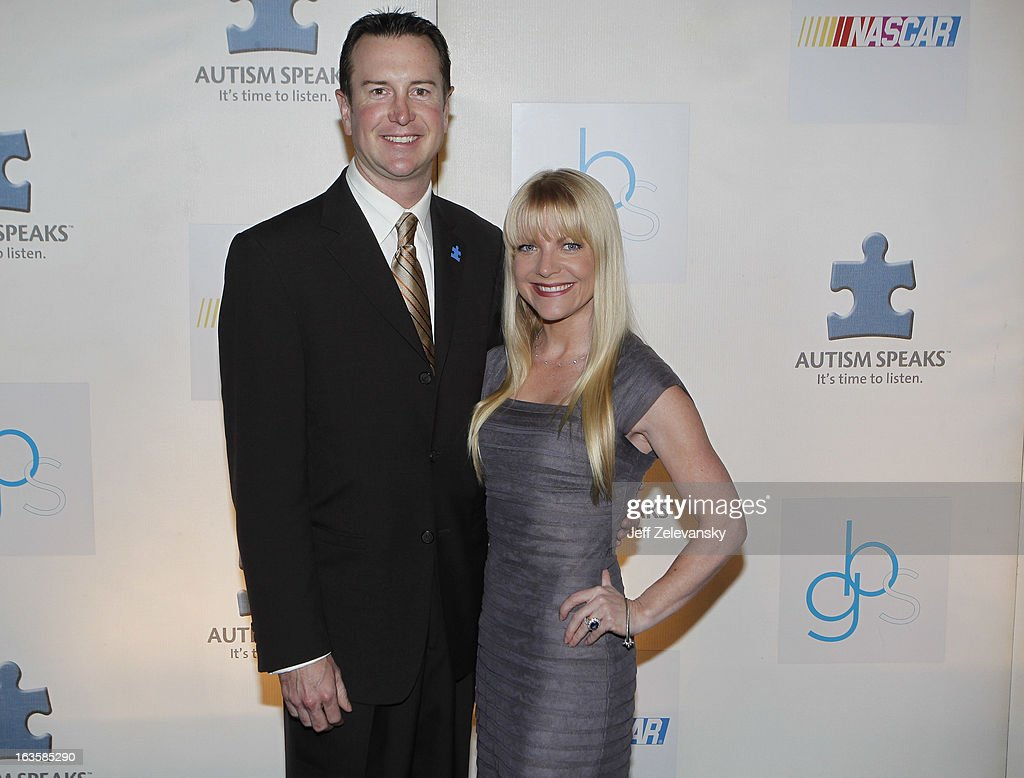 NASCAR driver Kurt Busch and Patricia Driscoll arrive at 'Speeding For A Cure', a gala to benefit Autism Speaks held at the Metropolitan Museum of Art on March 12, 2013 in New York City.
