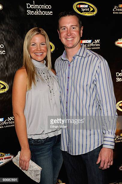 NASCAR driver Kurt Busch and wife Eva attend a NASCAR Evening with Emeril Lagasse at Delmonico Steakhouse in the Venetian Resort Hotel Casino during...
