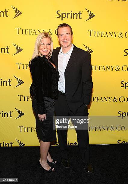 Driver Kurt Busch and wife Eva Busch attend the 2007 NASCAR Nextel Cup celebration at Tiffany Co November 28 New York New York