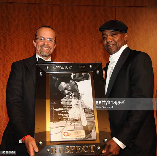 Driver Kyle Petty accepts award from Entertainment mogul Michael Mauldin at An Evening of Respect presented by The Big 'O' Foundation at The Woodruff...