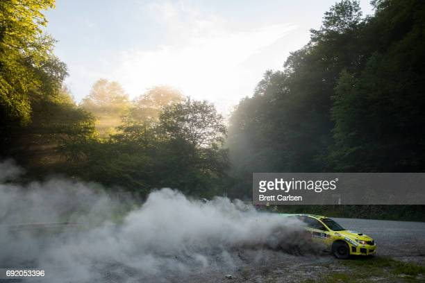Driver Lauchlin O'Sullivan and codriver Scott Putnam of the Subaru leave a cloud of dust behind them during stage 13 on June 3 2017 at day 2 of the...