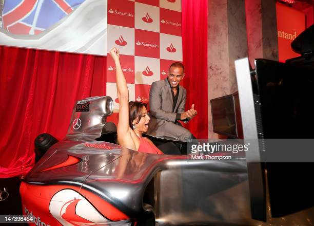 F1 driver Lewis Hamilton and TV presenter Melanie Sykes attend the launch of the London Grand Prix by Santander at the Royal Automobile Club on June...