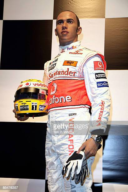 Driver Lewis Hamilton has his waxwork unveiled at Madame Tussauds on March 18 2009 in London England