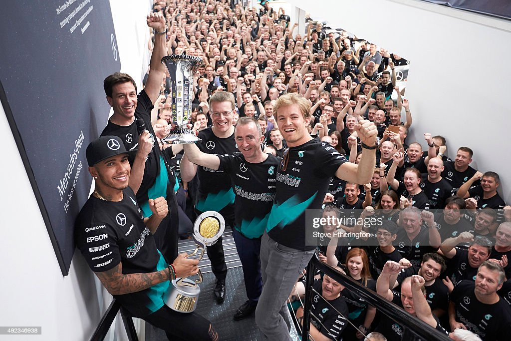 Lewis Hamilton Celebrates F1 Constructors Championship At Mercedes Factory : News Photo