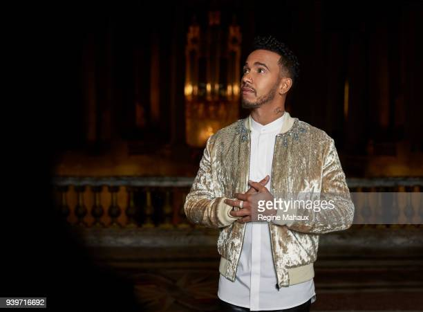 F1 driver Lewis Hamilton is photographed for Paris Match on December 2017 in Versailles France