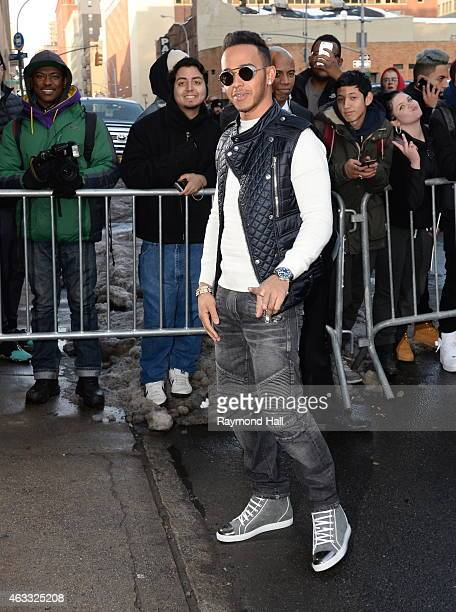 Driver Lewis Hamiton is seen outside of the adidas show on February 12 2015 in New York City