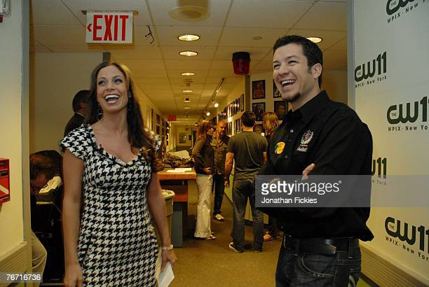 NASCAR driver Martin Truex Jr laughs with CW11 reporter Jill Nicolini before being interviewed by her during Chase Media Day September 13 2007 in New...