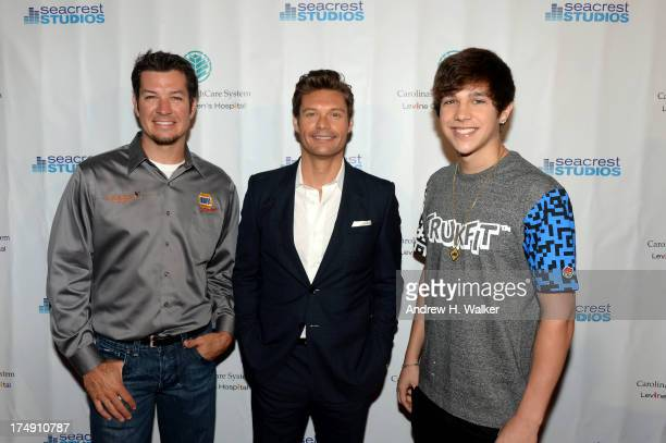 NASCAR driver Martin Truex Jr Ryan Seacrest and singer Austin Mahone attend the Seacrest Studios ribbon cutting at Levine's Children's Hospital on...