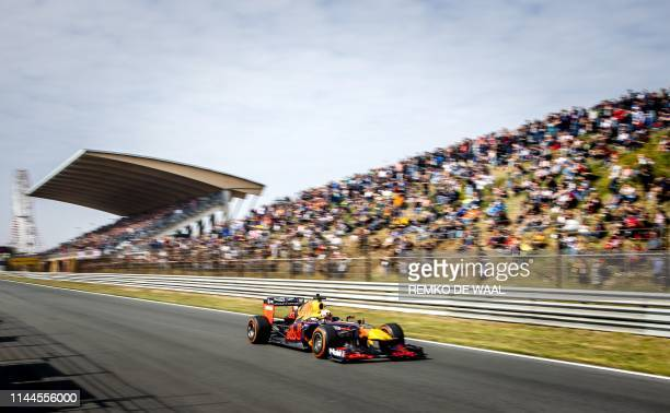 Driver Max Verstappen steers in his Red Bull car during the fourth edition of the Jumbo Race Days on the circuit of Zandvoort, on May 18 , 2019. /...