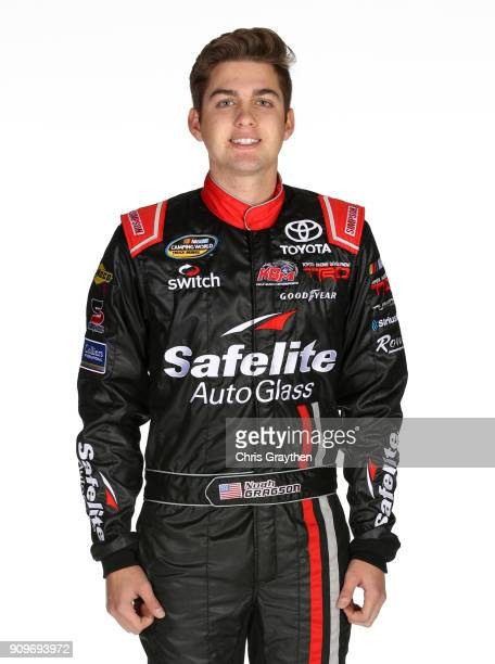 Driver Noah Gragson poses for photos during the NASCAR Cup Series Media Tour at Charlotte Convention Center on January 23 2018 in Charlotte North...