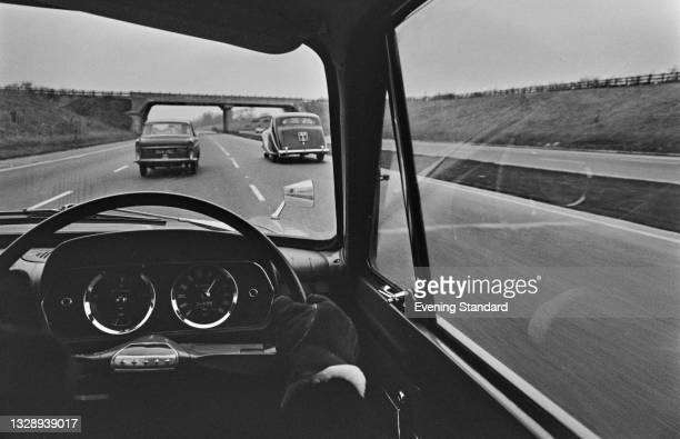Driver on the M1 motorway from London to Leeds, UK, 22nd December 1965. The Minister of Transport, Tom Fraser, announced a trial 70mph motorway speed...