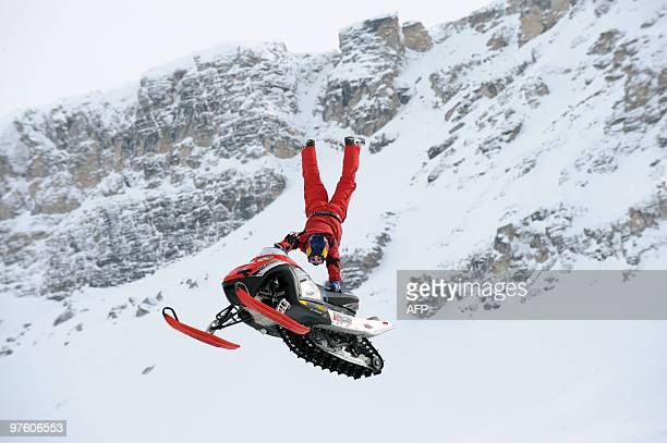 WINTER X GAMES EUROPE TIGNES ACCUEILLE LE GRATIN DU FREESKI US driver on the snowmobile competes during the Europe stage training of the men's...