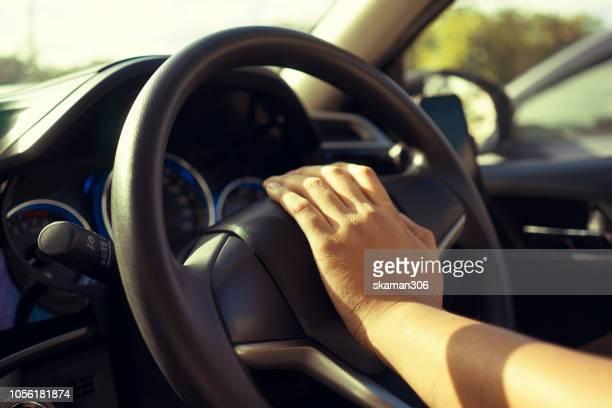Driver press the horn bottle  when traffic jam