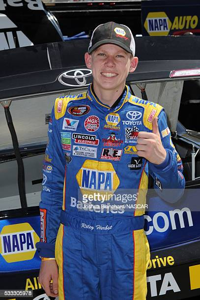Driver Riley Herbst after practice at the NASCAR KN Pro Series West Sunrise Ford 150 on May 21 2016 in San Bernardino California