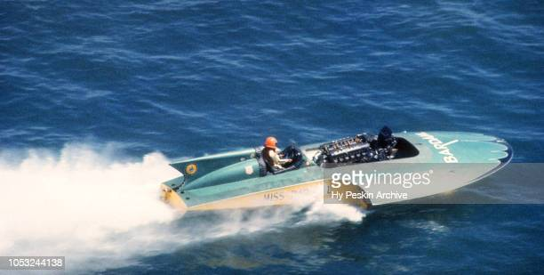 Driver Ron Musson in the Miss Bardahl U40 boat races on the water during the Gold Cup Motorboat race on August 26 1961 in Pyramid Lake Nevada