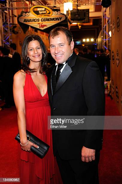 Driver Ryan Newman and his wife Krissie Newman arrive prior to the NASCAR Sprint Cup Series Champion's Week Awards Ceremony at Wynn Las Vegas on...