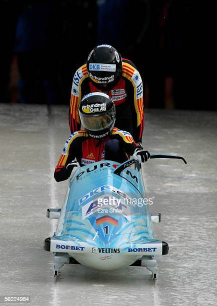 Driver Sandra Kiriasis and Anja Schneiderheinze of Germany who finished tied for first place at the start of heat 1 of of the FIBT Women's Bobsled...