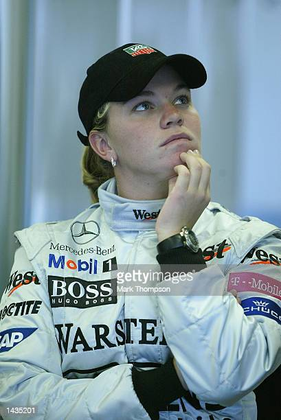 IRL driver Sarah Fisher prepares for her drive in the McLaren F1 car during the FIA Formula One Grand Prix at the Indianpolis Motorspeedway...