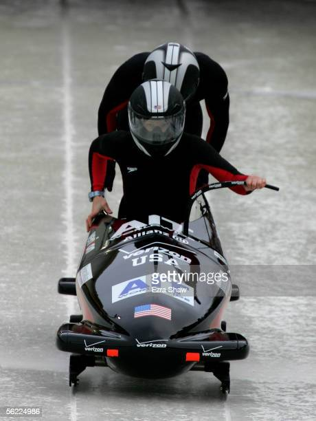 Driver Shauna Rohbock and Valerie Fleming of the USA who finished in third place at the start of heat 1 of of the FIBT Women's Bobsled World Cup Race...