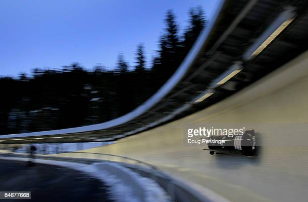 Driver Todd Hays and brakeman Chuck Berkeley of the USA take their first run in the two man bobsleigh finals at the FIBT Bobsleigh and Skeleton World...