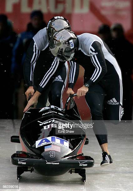 Driver Todd Hays and brakeman Pavle Jovanovic of the USA who finished in third place at the start of heat 1 of the FIBT Men's TwoMan Bobsled World...