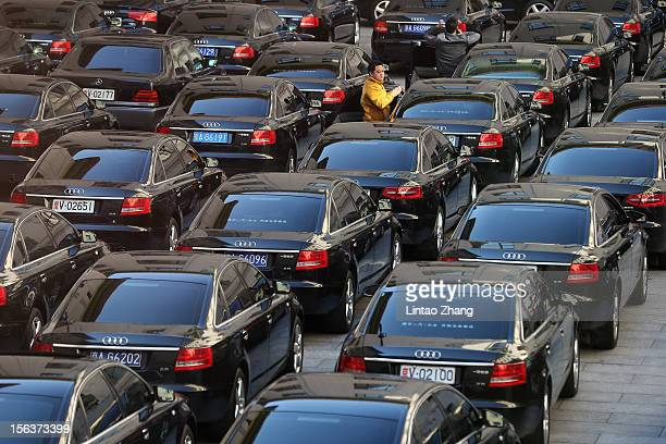 Driver waits amongst official cars, parked outside the Great Hall of the People, during the closing session of the 18th National Congress of the...