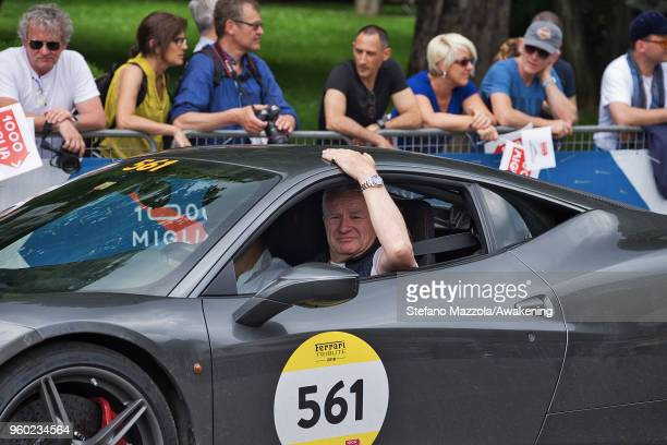 A driver waits to cross the finish line during the last day of the 1000 Miles Historic Road Race during Mille Miglia 2018 on May 19 2018 in Brescia...
