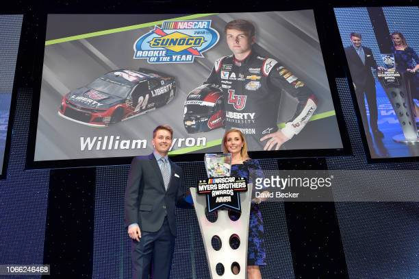 NASCAR driver William Byron accepts the Sunoco Rookie of the Year Award during the NASCAR NMPA Myers Brothers Awards at the Wynn Las Vegas on...