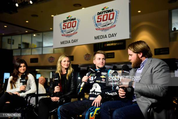 NASCAR driver William Byron speaks with the media during the Monster Energy NASCAR Cup Series 61st Annual Daytona 500 Media Day at Daytona...