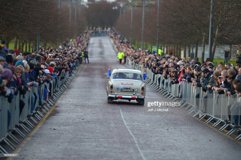Drivers and their classic cars leave Glasgow at the start of the Monte Carlo Classic Rally on January 26, 2013 in Glasgow. Around 100 cars set off from The People's Palace at Glasgow Green, they will pass through Kilmarnock and Dumfries on route to Monte Carlo via Dover.