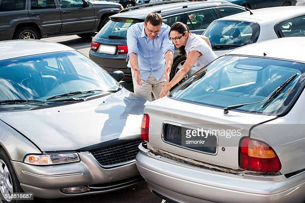 drivers arguing after the accident - crash stock pictures, royalty-free photos & images