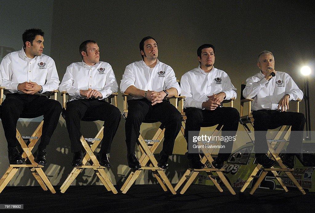 drivers Aric Almirola, Regan Smith, Paul Menard, Martin Truex Jr. and Mark Martin take questions during a media event at Dale Earnhardt, Inc. on January 23, 2007 in Mooresville, North Carolina.