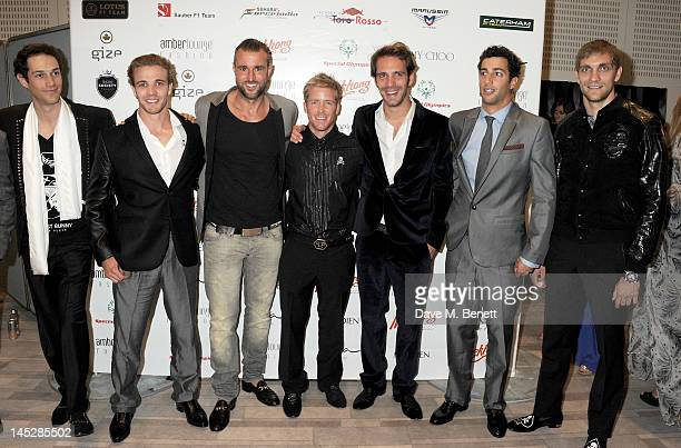 F1 drivers Bruno Senna Dani Clos Sam Bird JeanEric Vergne Daniel Ricciardo and Vitaly Petrov attend the Amber Lounge Fashion Show Monaco 2012 at Le...