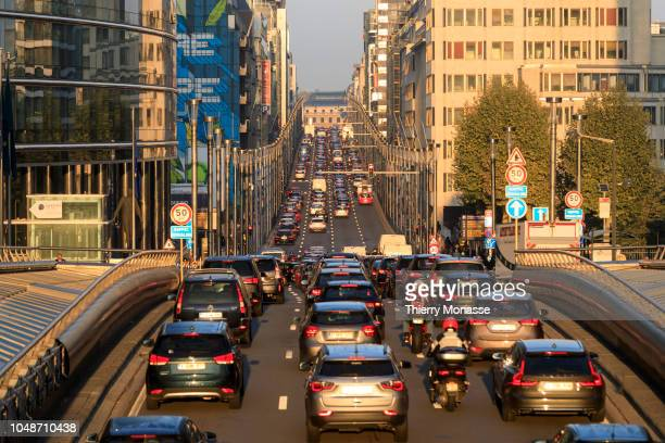 Drivers coming from the Cinquantenaire tunnel fall in a traffic jam in the Rue de la Loi in the European district in central Brussels Belgium October...