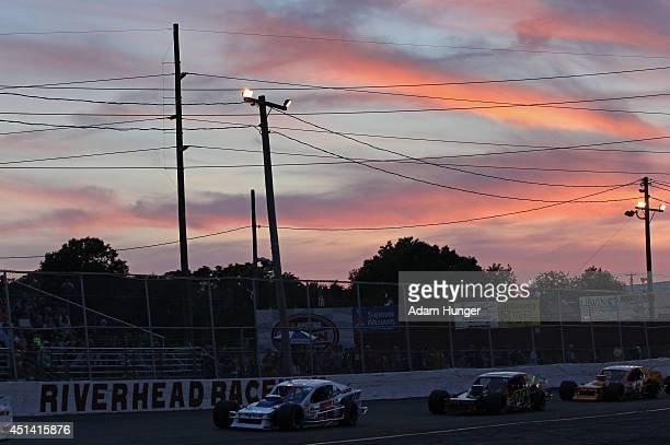 Drivers compete during the Hoosier Tire 200 at Riverhead Raceway on June 28 2014 in Riverhead New York