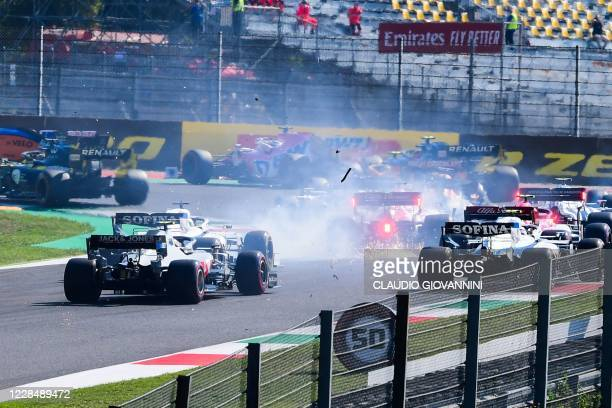 Drivers crash during the Tuscany Formula One Grand Prix at the Mugello circuit in Scarperia e San Piero on September 13, 2020.